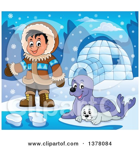 Clipart of a Happy Inuit Eskimo Boy Presenting by Seals and an Igloo - Royalty Free Vector Illustration by visekart