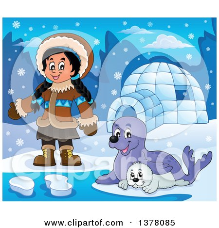 Clipart of a Happy Inuit Eskimo Girl Presenting by Seals and an Igloo - Royalty Free Vector Illustration by visekart