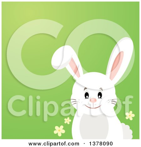 Clipart of a Happy White Bunny Rabbit over a Gradient Green Background - Royalty Free Vector Illustration by visekart