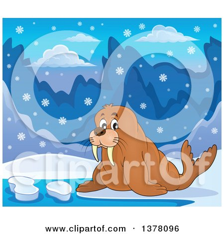 Clipart of a Happy Walrus in the Snow - Royalty Free Vector Illustration by visekart