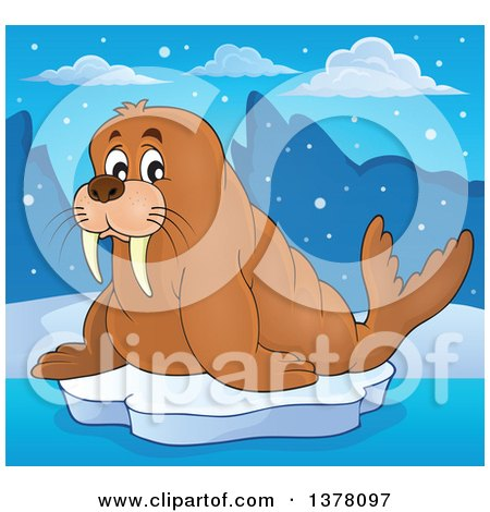 Clipart of a Happy Walrus on Floating Ice - Royalty Free Vector Illustration by visekart