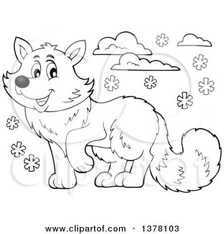 Clipart of a Black and White Happy Arctic Fox - Royalty Free Vector Illustration by visekart