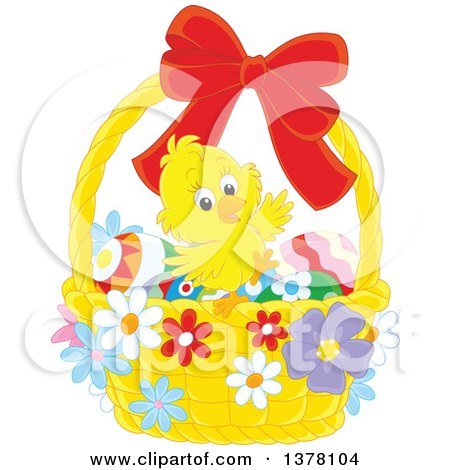 Happy Chick in a Basket of Easter Eggs and Flowers Posters, Art Prints
