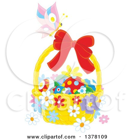 Clipart of a Butterfly on a Bow of a Basket of Easter Eggs and Flowers - Royalty Free Vector Illustration by Alex Bannykh
