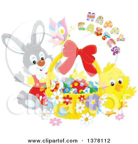 Clipart of a Happy Easter Greeting over a Butterfly, Bunny and Chick with a Basket of Eggs - Royalty Free Vector Illustration by Alex Bannykh