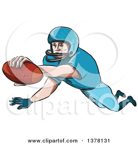 Clipart of a Sketched Caricutre Styled American Football Player in a Touchdown - Royalty Free Vector Illustration by patrimonio