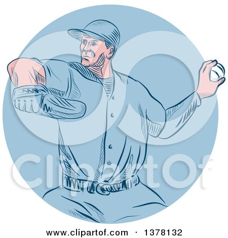 Clipart of a Retro Sketched or Engraved White Male Baseball Player Pitching in a Blue Circle - Royalty Free Vector Illustration by patrimonio