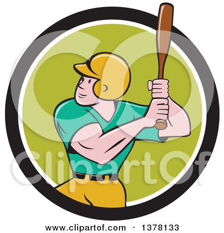 Clipart of a Retro Cartoon White Male Baseball Player Athlete Batting in a Black White and Green Circle - Royalty Free Vector Illustration by patrimonio