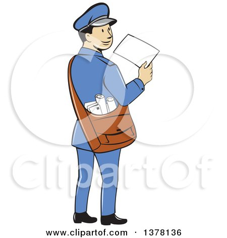 Clipart Illustration of a Friendly And Smiling Mail Man In A Blue ...