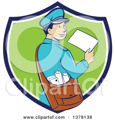 Retro Cartoon Happy Mail Man Holding an Envelope and Looking Back over His Shoulder in a Blue White and Green Shield Posters, Art Prints