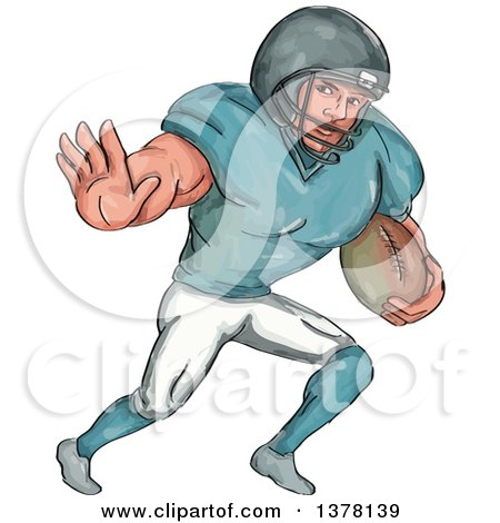 Clipart of a Painted Caricature Styled American Football Player Defending - Royalty Free Vector Illustration by patrimonio