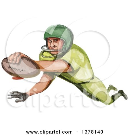 Clipart of a Watercolor Caricature Styled American Football Player in a Touchdown - Royalty Free Vector Illustration by patrimonio