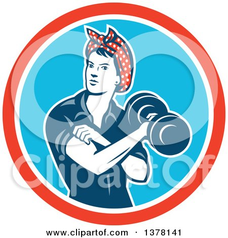 Clipart of a Retro Woman, Rosie the Riveter, Rolling up a Sleeve and Working Out, Doing Bicep Curls with a Dumbbell in a Red White and Blue Circle - Royalty Free Vector Illustration by patrimonio