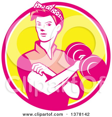 Clipart of a Retro Woman, Rosie the Riveter, Rolling up a Sleeve and Working Out, Doing Bicep Curls with a Dumbbell in a Pink White and Yellow Circle - Royalty Free Vector Illustration by patrimonio