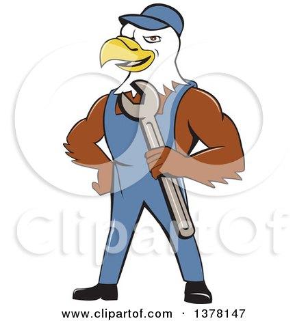 Clipart of a Cartoon Bald Eagle Mechanic Man Holding a