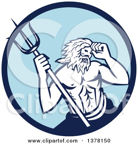 Clipart of a Roman Sea God, Neptune or Poseidon, with a Trident in a Blue Circle - Royalty Free Vector Illustration by patrimonio