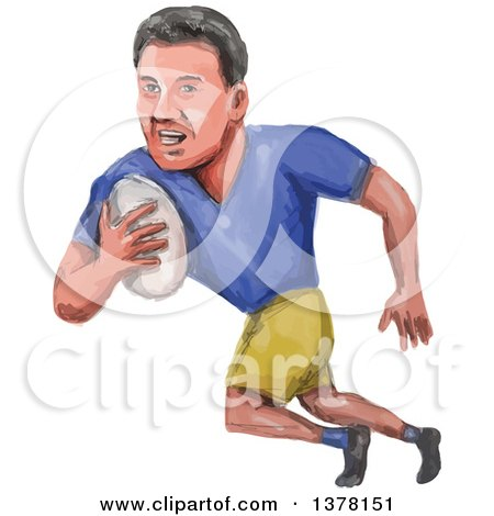 Clipart of a Watercolor Caricature Styled Rugby Player Running - Royalty Free Vector Illustration by patrimonio