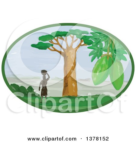 Clipart of a Lone African Woman with a Basket on Her Head, Standing near a Baobab Tree with a View in an Oval - Royalty Free Vector Illustration by patrimonio