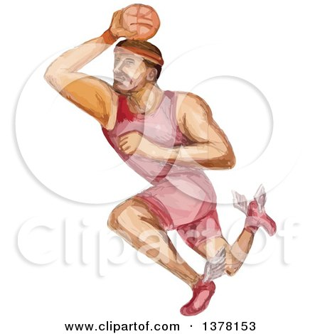 Clipart of a Watercolor Caricature Styled Basketball Player Dunking - Royalty Free Vector Illustration by patrimonio