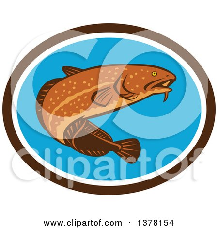 Clipart of a Retro Swimming Burbot Fish in a Brown White and Blue Oval - Royalty Free Vector Illustration by patrimonio