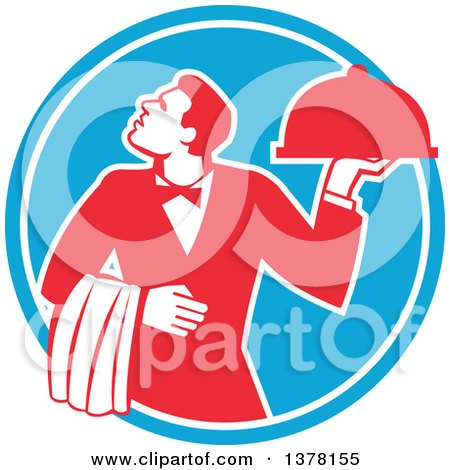 Clipart of a Retro Red and White Male Waiter Holding a Cloche Platter and Looking up in a Blue Circle - Royalty Free Vector Illustration by patrimonio