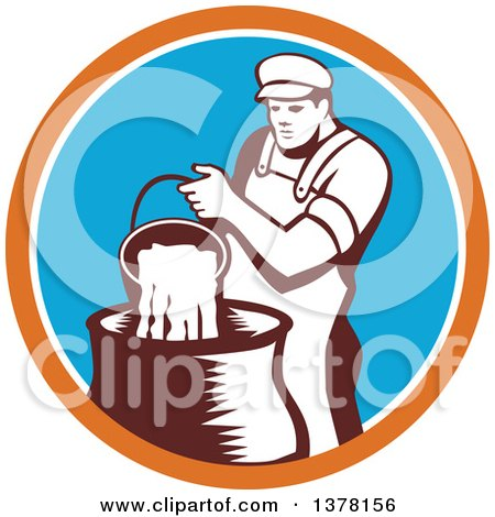 Clipart of a Retro Male Cheesemaker Pouring a Bucket of Curd and Whey into a Vat in an Orange White and Blue Circle - Royalty Free Vector Illustration by patrimonio