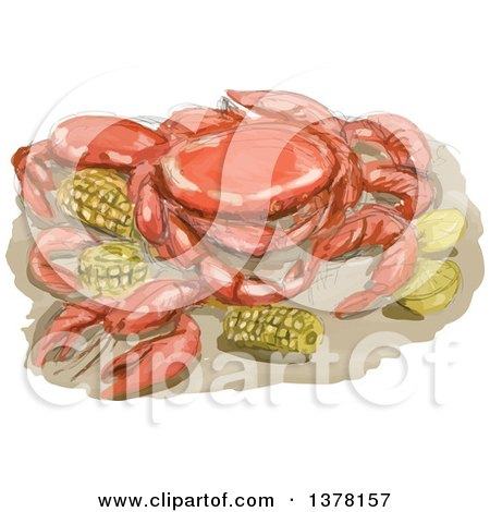 Clipart of a Watercolor Cajun Seafood Meal with Shrimp, Crawfish and Crab, Lemon and Corn Cob - Royalty Free Vector Illustration by patrimonio