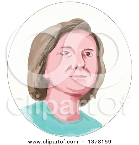Clipart of a Painted Caricature Styled White Woman's Face in an Oval - Royalty Free Vector Illustration by patrimonio