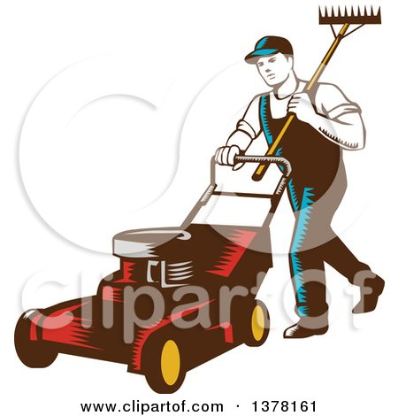 Retro Woodcut Male Landscaper Carrying a Rake and Pushing a Lawn Mower Posters, Art Prints