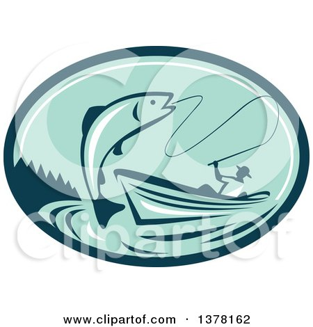 Clipart of a Retro Fly Fisherman Reeling in a Trout or Salmon Fish from a Boat in a Teal and Green Oval - Royalty Free Vector Illustration by patrimonio