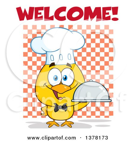 Clipart of a Yellow Chef Chick Holding a Cloche Platter with Welcome Text over Checkers - Royalty Free Vector Illustration by Hit Toon