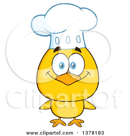 Clipart of a Yellow Chef Chick - Royalty Free Vector Illustration by Hit Toon