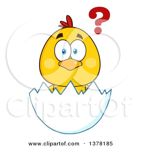 Clipart of a Yellow Chick in an Egg Shell, with a Question - Royalty Free Vector Illustration by Hit Toon