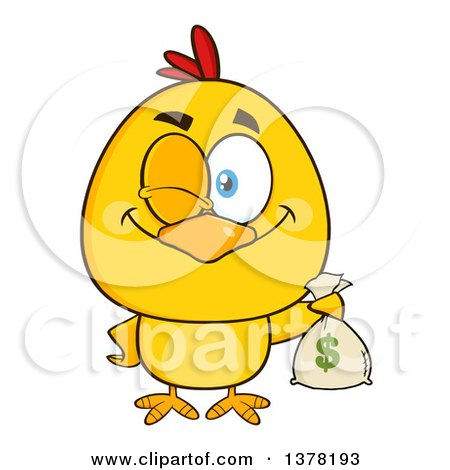 Clipart of a Yellow Chick Winking and Holding a Money Bag - Royalty Free Vector Illustration by Hit Toon