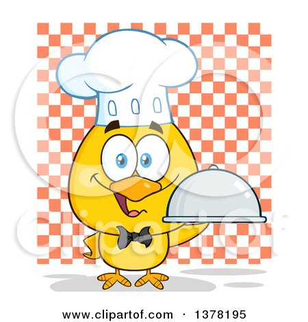 Clipart of a Yellow Chef Chick Holding a Cloche Platter over Checkers - Royalty Free Vector Illustration by Hit Toon