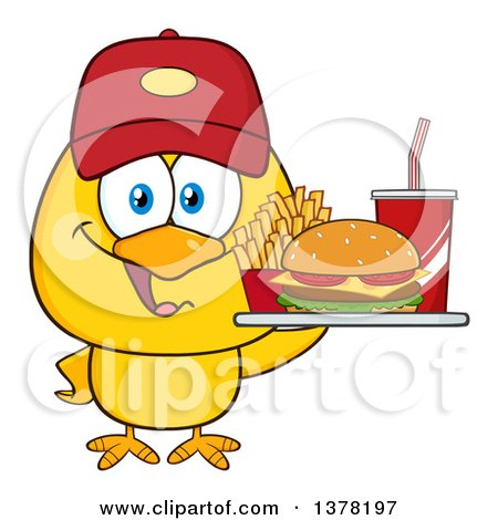 Clipart of a Yellow Chick Wearing a Baseball Cap and Holding a Tray of Fast Food - Royalty Free Vector Illustration by Hit Toon