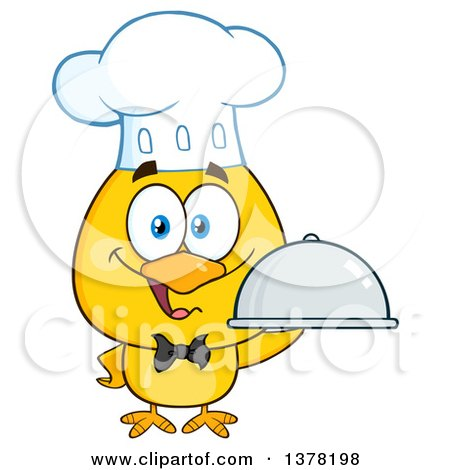 Clipart of a Yellow Chef Chick Holding a Cloche Platter - Royalty Free Vector Illustration by Hit Toon