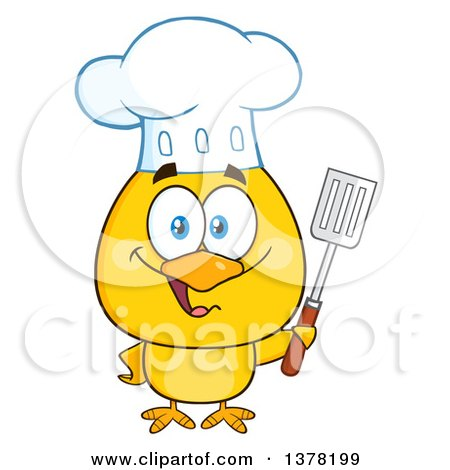 Clipart of a Yellow Chef Chick Holding a Spatula - Royalty Free Vector Illustration by Hit Toon