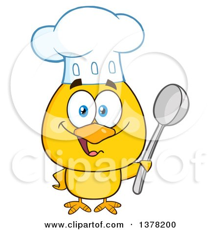 Clipart of a Yellow Chef Chick Holding a Spoon - Royalty Free Vector Illustration by Hit Toon