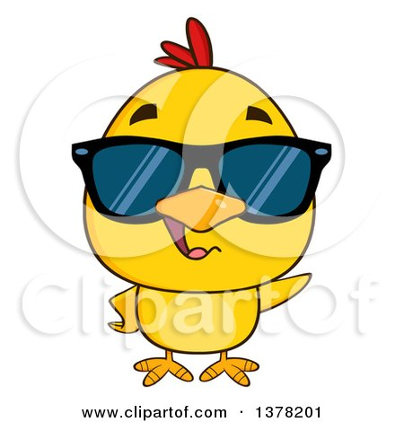 Clipart of a Yellow Chick Wearing Sunglasses - Royalty Free Vector Illustration by Hit Toon
