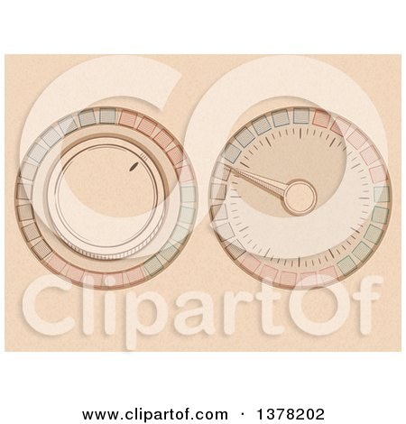 Clipart of a Sketched Colorful Button and Dial over Beige - Royalty Free Vector Illustration by elaineitalia