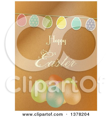 Clipart of a Happy Easter Greeting over Brown Paper, a Party Bunting and Eggs - Royalty Free Vector Illustration by elaineitalia