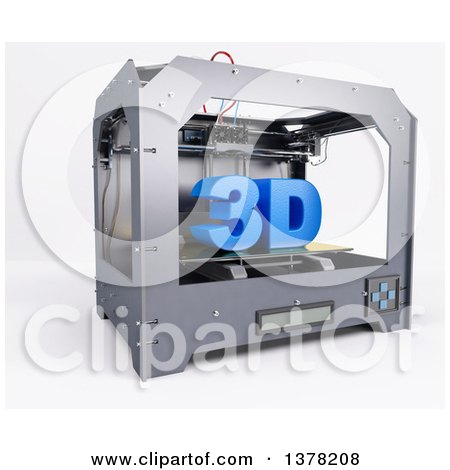 Clipart of a Printer Printing 3d, on a White Background - Royalty Free Illustration by KJ Pargeter