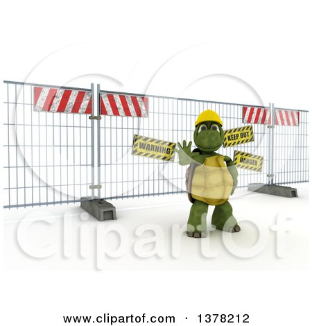 Clipart of a 3d Tortoise Construction Worker Gesturing to Stop in Front of a Barrier, on Shading - Royalty Free Illustration by KJ Pargeter