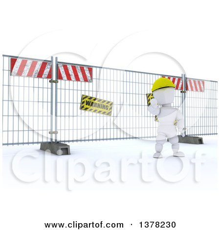 Clipart of a 3d White Character at a Construction Barrier, on a White Background - Royalty Free Illustration by KJ Pargeter