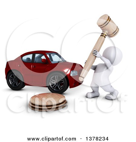 Clipart of a 3d White Man Auctioneer Banging a Gavel by a Car, on a White Background - Royalty Free Illustration by KJ Pargeter