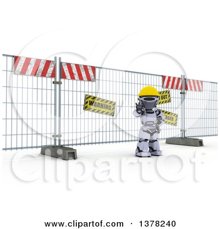 Clipart of a 3d Silver Robot Construction Worker Gesturing to Stop in Front of a Barrier, on Shading - Royalty Free Illustration by KJ Pargeter
