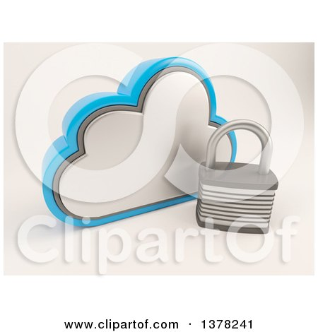Clipart of a 3d Cloud Icon with a Padlock, on Shaded White - Royalty Free Illustration by KJ Pargeter