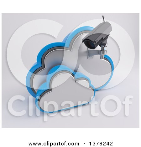 Clipart of a 3d HD CCTV Security Surveillance Camera Mounted on Cloud Icon, on off White - Royalty Free Illustration by KJ Pargeter