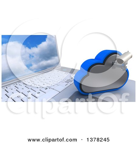 Clipart of a 3d HD CCTV Security Surveillance Camera Mounted on Cloud Icon Resting on a Laptop Computer, on White - Royalty Free Illustration by KJ Pargeter